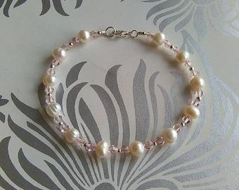 Freshwater Pearl & Pink Swarovski Crystal Bracelet