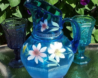 Hand Painted Blue Glass Pitcher