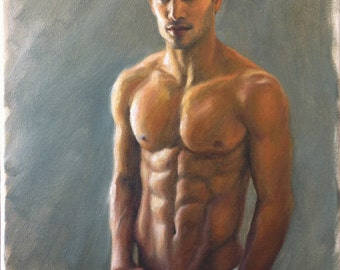 Male Figure Study, Original Oil Painting, Male Portrait, Contemporary Realism, Painting of a Handsome Man, Fine Art, Oil on Canvas