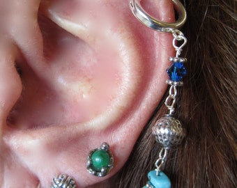 "EARRINGS, ""Oregon Skies"" EAR~LACE, Ear Lace,  Sterling Silver, Turquoise, Crystals, Lapis,  Handmade, Bali, Quality"
