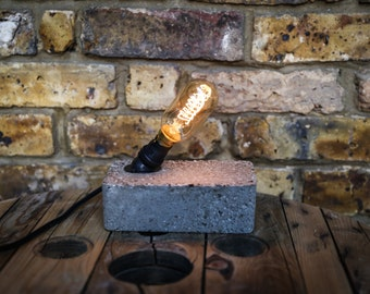 Hypertufa concrete desk lamp with angled housing by MooBoo Home MB039