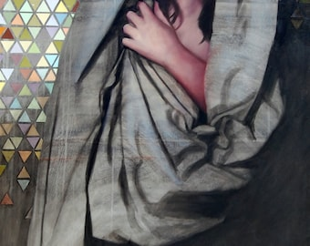 Collage and Oil Painting Stained Glass Triangles Girl