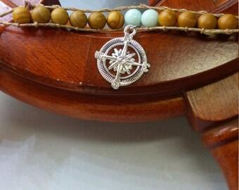 Wrap Bracelet Compass Wood Jasper Amazonite Sea Shell Beach