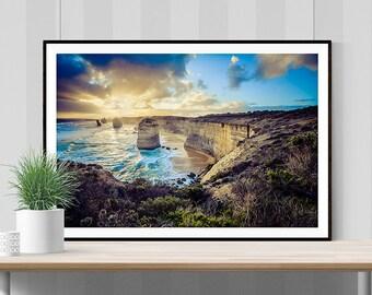 Twelve Apostles photograph: at sunset, Great Ocean Road, Victoria, Australia FREE SHIPPING within AUSTRALIA