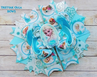 Frozen Hair Bow Elsa Inspired Bow Frozen Bow Boutique Elsa Bows Blue Frozen Hair bow Frozen Elsa Anna Hair bow Frozen Birthday Party