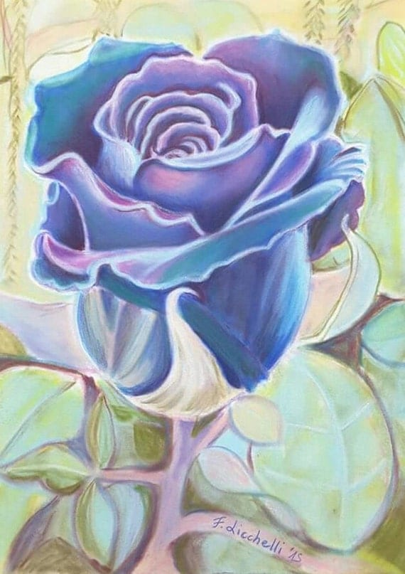 Purple, blue rose, original drawing - soft pastels on velvety paper -girls/child's berdroom, 24x32 cm./9,4x12,6 inc.Wall art,living,nursery.