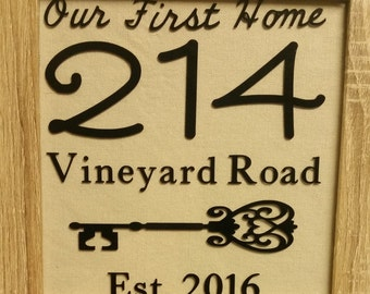 Our First Home, Personalized  Gift, Burlap Sign