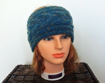 Women's Cabled Dark Blue Ear Warmer