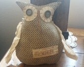 Primitive handmade owl, Hootie the Owl, fall decor, autumn decorating, ornie, shelf sitter, tuck, prim decorating,