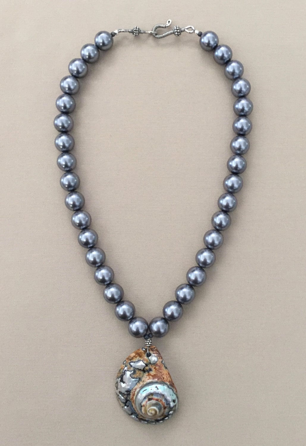 Shell Necklace With African Turbo Pendant