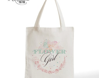 Tote Bag Flower Girl, wedding, romantic gift, typography, statement, quote