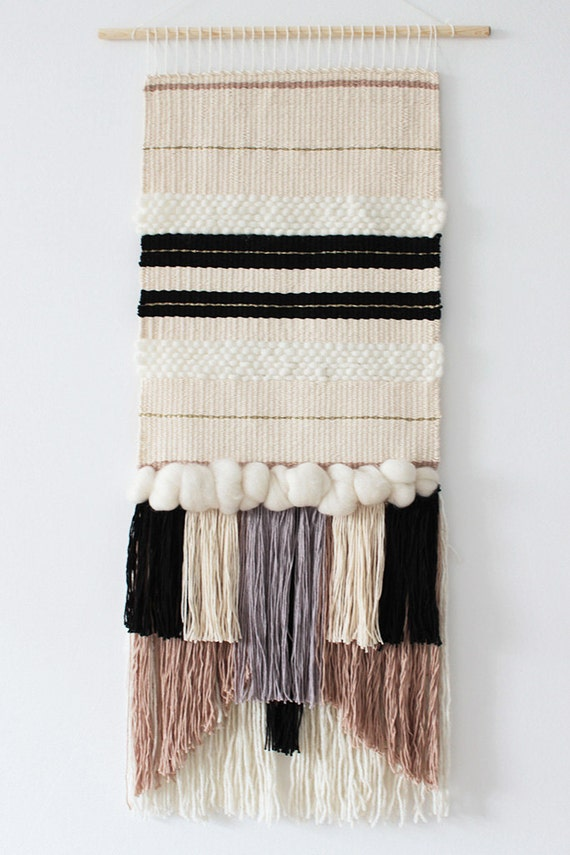 MADE TO ORDER Woven wall hanging | Wall tapestry | Wall weaving | Fiber art | Off white, ivory,  grey, black, beige weaving
