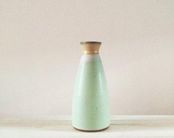 Sake Bottle - Matte Blue Green - Yellow - Handmade Pottery - Red Earthenware Vase
