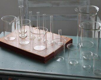 Laboratory glass: 16 parts chemist Pyrex beakers, vials, refrigerants, industrial décor, VER170894 Pyrex glass