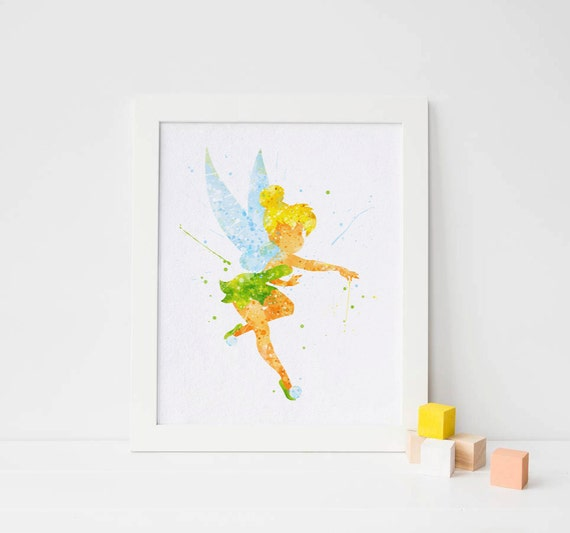 Fairy Wall Art disney tinkerbell print fairy print watercolor tinkerbell wall art