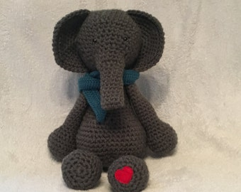 Crochet Elephant, Grey, Handmade, Made to Order, Amigurumi, Plushie, Soft, Stuffed, Animal