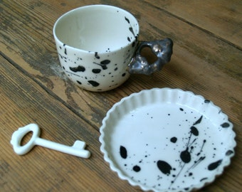 Coffee Set, Cup And Saucer Set, English Tea Set, Gift Set, Ceramic Set, White Pottery Set, Handpainted Set, Black Print Set, Sprinkled Cup