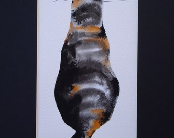 Tortie tricolour-cat-original watercolor painting-tortoiseshell-feline art-cat-calico cat cat-watercolor gift idea