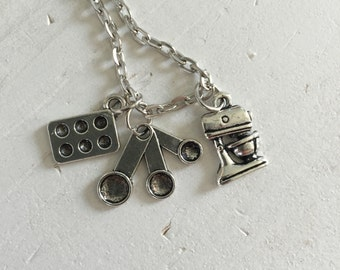 Love to Bake Necklace, Measuring spoons, Stand Mixer, Cupcake Tin