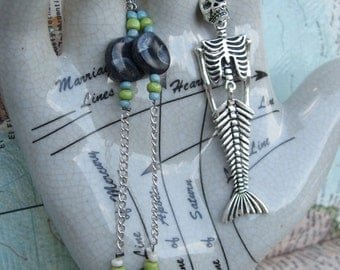 SALE! Blue and Green Mermaid Skeleton Necklace