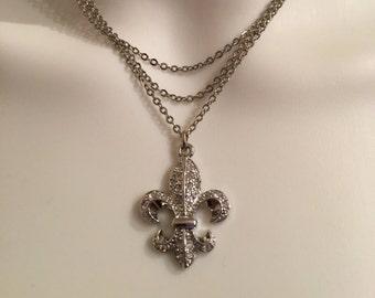 3 Strand Fleur De Lis Necklace