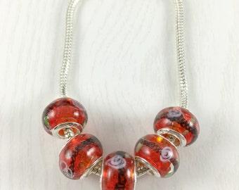 Set of 5 Orange Glass European Beads, European Bead, Large Hole Beads, European Charm Bead, European Bracelet, Loose Bead, EB1228
