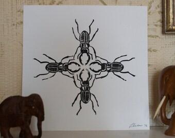 STAG BEATLE 4// Handmade Lino Print