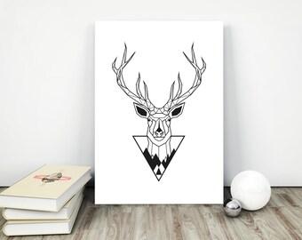 Deer Printable Art, Deer Head Print, Deer Download, Antler Wall Art, Download Deer Prints, Woodlands Wall Decor, Deer Poster Decor,