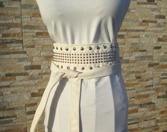 White Leatherette belt with Silver Studs