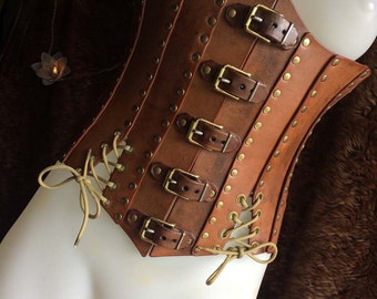 Leather Corset - Steampunk - Gold, Tan, Brown