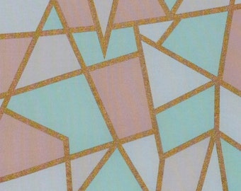 Metallic Gold Geometric Fabric, Mint Coral Fabric, Fabric by the yard, Fat Quarter, Quilting Fabric, Apparel Fabric, 100% Cotton Fabric, D-4