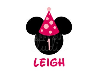 Personalized Birthday Girl / Minnie Mouse Ears with Age Number and Birthday Party Hat Disney Iron On Decal Vinyl for Shirt 104