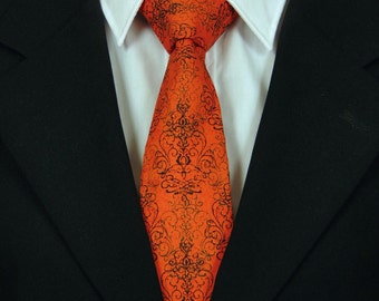 Orange Black Necktie, Orange Black Tie, Black Necktie, Mens Necktie, Mens Tie, Black Tie, Orange Necktie, Orange Tie, Father, Dad, Gift, And