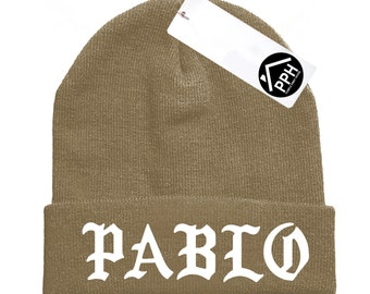 Pablo Beanie Hat Sand Military Green Beenie Winter Skull EMBROIDERED CUSTOM EMBROIDERY Hat Wooly Tour Yeezus Hoodie