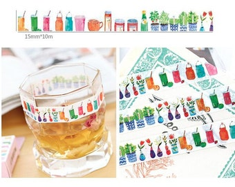 Colorful drink cute bottle washi tape 10M watercolor glass bottle beautiful potted bottle masking tape glasses vases sticker tape decor