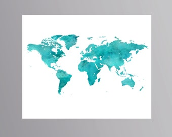 Blue Turquoise World map print watercolor Blue Turquoise Wall Decor Travel print Globe illustration Nursery decor map Traveler gift