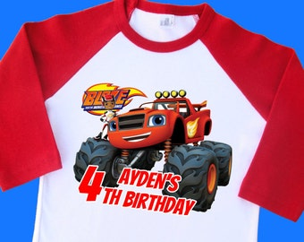 Blaze and the Monster Machines Birthday Shirt. Personalized Raglan with Name & Age. 1st 2nd 3rd 4th 5th 6th 7th 8th 9th Birthday (35025)