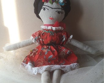 Frida Kahlo inspired clothdoll Poupée de chiffons Frida