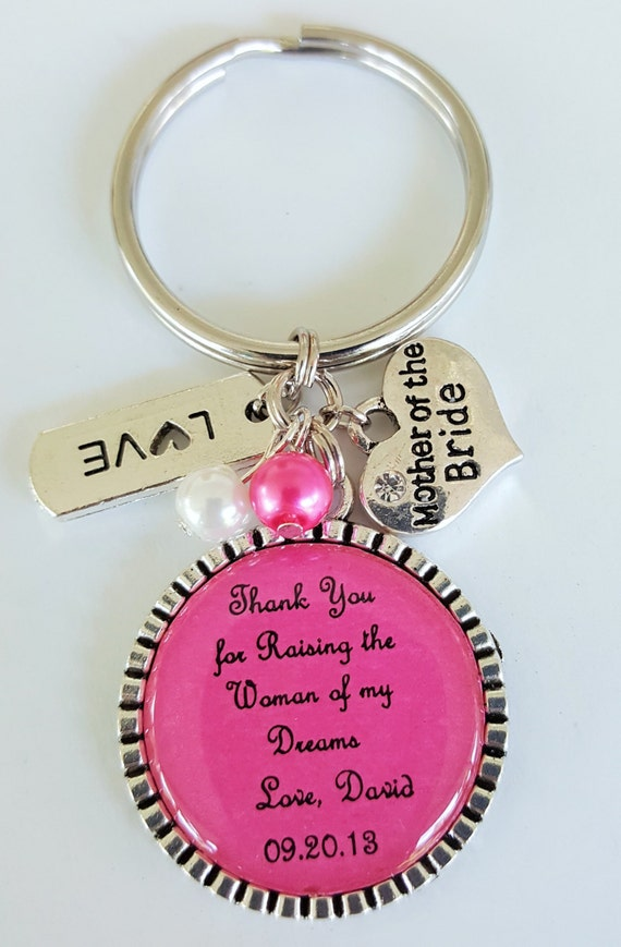 MOTHER of the BRIDE Keychain / Mother of the Bride Key Chain / Mother in Law Gift / Wedding Keepsake / Rehearsal Dinner / Thank You