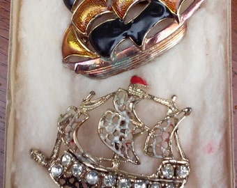 Vintage Schooner Sailboat Lapel Pins-Brooches, Enamel and Rhinestone Sailboat pins