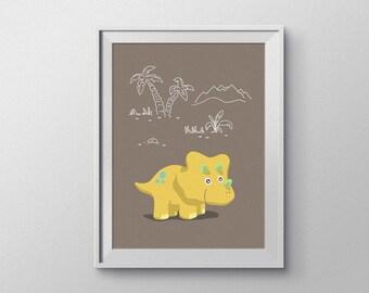Baby Triceratops Dinosaur Nursery Art. Brown-Themed, Hand Rendered Digital Download.