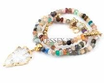 Quartz Arrowhead Necklace | Beaded Arrowhead Necklace | Gemstone Beaded Necklace | Choker Gemstone Necklace | Boho Arrow Necklace