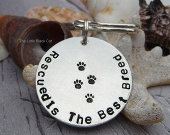 Pet Keyring Gift, Pet Key Chain, Rescued Is The Best Breed Keyring, Rescue Animal, Animal Keyring, Animal Lover, Gift For Her, Gift For Him