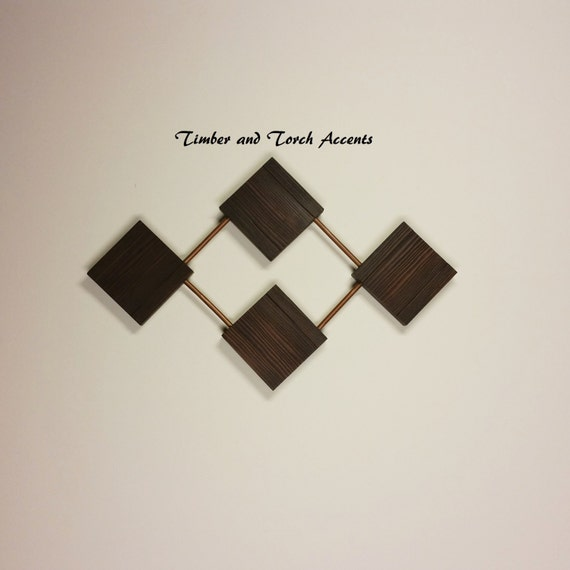 Geometric Metal Wall Decor : Abstract wood and metal wall art geometric decor