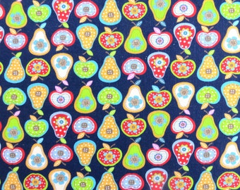 Fruit fabric - Blue fabric - Quilting fabric - Patchwork fabric - Kids fabric - Childrens fabric - 100% cotton fabric - Dressmaking