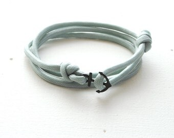 Mens Womens - Black Anchor Bracelet - Silver Grey Rope Bracelet - Anchor Paracord Bracelet - Triple Wrap Bracelet - Black Anchor Paracord