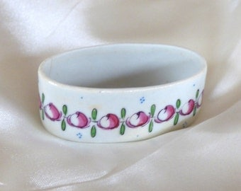 Sweet Antique Hand Painted, Hand Marked Oval Desvres French Porcelain Salt Cellar /Small Dish w/ Floral Border