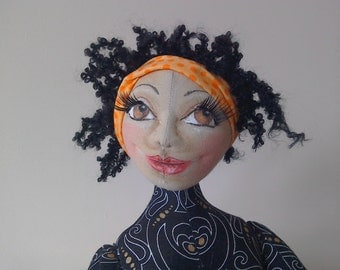 OOAK Art Doll, Lola the Puerto Rican Girl, Unique Handmade Doll, Collectible Doll, Home Decor, Gift, Cloth Doll, Fabric Doll,  Art