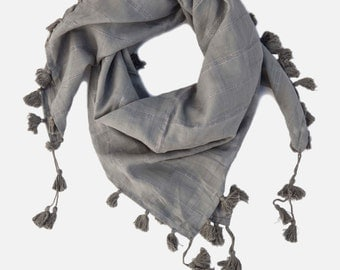 Grey Cotton Square Scarf with Tassels. Soft Cotton Fabric with design. Light Grey Cotton Scarf. Square Scarf