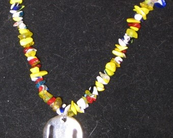 Yellow glass Chip Necklace with Rhodium Pendant